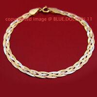Solid 18ct Yellow White Rose Gold Twist Diamond Edge Ring Clasp Bracelet Chain