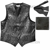 New Men's dark gray paisley Tuxedo vest Waistcoat self tie bow tie & hankie set