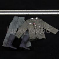 1/6 Clothes WWII M43 Uniform Combat Pants German Tube Boots Set Fit 12'' Body