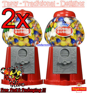 2 x Gumball Vending Machine Gum Dispenser Toy Coin Bank 80g Bubble Gum Included