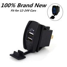 Blue LED Voltmeter Socket Car Marine Boat Dual USB Power Supply Charger Port 12V