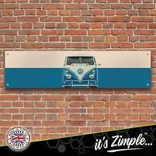 Volkswagen VW Camper Van Blue Banner Garage Workshop Sign PVC Trackside Display
