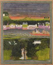 Pintura 18TH Century indio Radha Krishna en barco de amor Poster Print LLF0094
