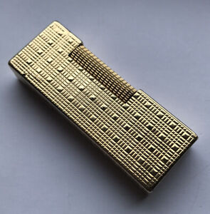 Dunhill Gold Plated 'Tartan' Rollagas Lighter-Fully Overhauled