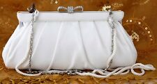 NWT KATE LANDRY 11FE SATIN BRIDAL EVENING BAG CLUTCH CROSSBODY FITS PHONE WHITE
