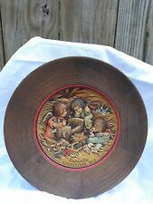 "Anri Jaun Ferrandiz 9"" Wooden Christmas Plate, 'Finishing Cradle' 1972 Vintage"