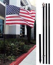 10ft Black Outdoor Flag Pole KIT + Ground Spike + Shock Absorber