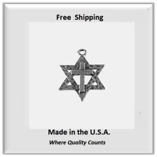 Messianic Star of David with Cross for Necklace/Bracelet Silver Tone
