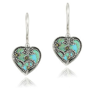 925 Silver Marcasite & Synthetic Turquoise Heart Earrings