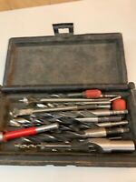 VINTAGE SEARS CRAFTSMAN 9 65298 CASE WITH MIX LOT OF DRILL BITS OVER 12 BITS
