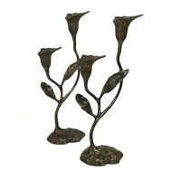 Cast Metal Floral Taper Candle Holders Sculptural Bronzed Table Decor