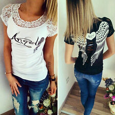 Mode Angel Wings Motif femme manches courtes T-shirt Sexy Chemisier Dentelle