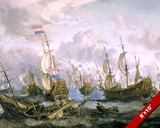 4 DAYS BATTLE NAVAL SEA PAINTING ENGLISH DUTCH NAVY WAR ART REAL CANVAS PRINT