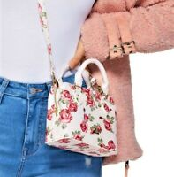 NWT GUESS 3 COMPARTMENT HANDBAG Small Floral Logo Satchel Crossbody Bag GENUINE