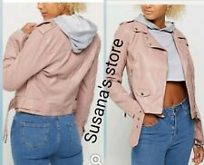 NWT Pink Belted Moto Jacket SIZE M Fabulous Super chic!!