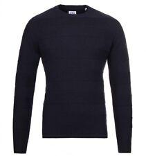 Mens Edwin Jeans Japan Standard Stripe Lambswool Sweater Jumper Navy Blue S