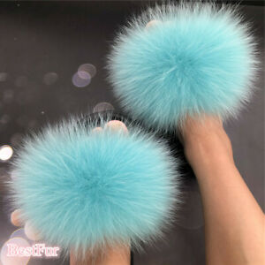 Turquoise-Women's Slides Real Fox Fur Slippers Summer Beach Sandals Furry Shoes