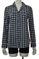 J Crew Womens Top Size 4 Navy Blue White Checkered Button Up Blouse Long Sleeve