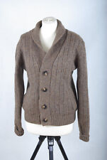 P586/47 Vintage C&A Wool Chunky Knit Brown Cardigan with Pockets, UK14  97 cm