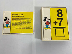 Vintage Walt Disney's Basic Addition Facts Flashcards 102 Cards Mickey Mouse VG