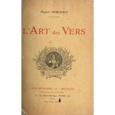 L'ART des VERS dédicacé par Auguste DORCHAIN Étude sur la Poésie circa 1905 RARE