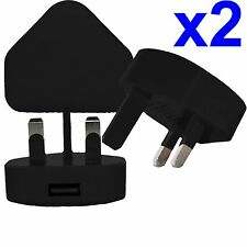 2 x 100% CE USB UK AC WALL PLUG CHARGER ADAPTER FOR iPhone iPod Samsung HTC