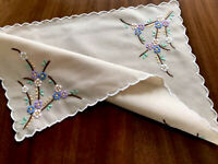 Vintage Hand Embroidered Dark Cream Taupe Table Centre Cloth 16.5x11.5 Inch