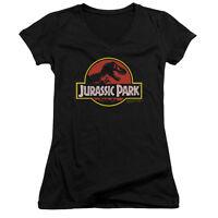 Jurassic Park Movie CLASSIC LOGO Licensed Juniors V-Neck Tee Shirt