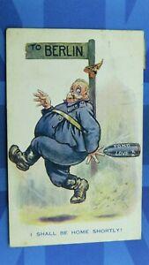 WW1 Dudley Buxton ? Military Comic Postcard 1917 Fat German Soldier Shell BERLIN