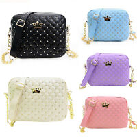 Women's Ladies Crown Quilted Chain Bag Leather Shoulder Bag Crossbody Handbag