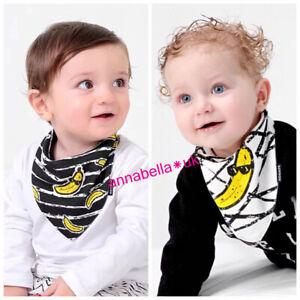Baby Bibs Banana Yellow Black Bandana Girl Boy Cotton 2Ps Wrap Teething Feed UK