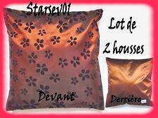 2 HOUSSES DE COUSSINS DECORATION 45x45CM MARRON MOTIFS FLEUR NOIR