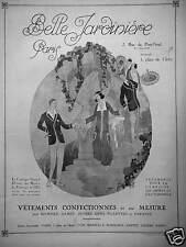 PUBLICITÉ 1924 BELLE JARDINIÈRE PARIS VÊTEMENTS CONFECTIONNÉS SUR MESURE