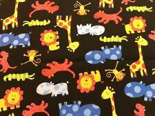 Benartex - Baby Safari -#04215- Bright Animals on Black Background 100 Cotton