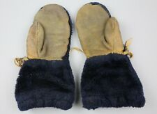 Vintage Brown Leather Motorcycle Snowmobile Mittens Gloves Fur Lined Winter Warm