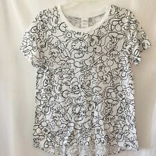 Disney Womens Large Mickey Mouse Face White Graphic Crewneck Tee Shirt T Shirt