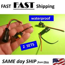 Kit 2-Pin Way Car Waterproof Electrical Connector Plug w/ Wire AWG Marine