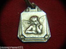 Jolie ancienne médaille en argent, Ange, 1930, Art Déco
