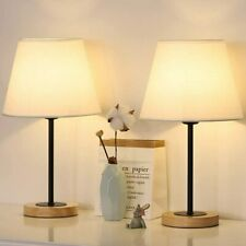 Small Table Lamps Set of 2 Bedside Desk Lamp for Bedroom Nightstand Wood Base