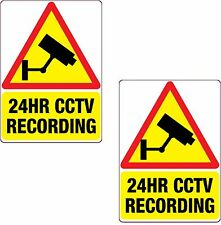 2 x 24HR CCTV Recording Sticker Red 150x105mm Printed Vinyl Label Home Shop