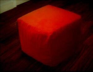 """19.5 X 19.5 X 19.5"""" Square Footstool Cover Red Pouf Ottoman Seating Cover"""