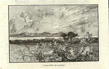 Stampa antica ISOLA d' ELBA Vista dal Continente Livorno 1892 Old antique print