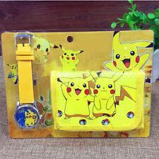 Pokemon Pikachu Armbanduhr und Geldbörsen Kinder Netter Geschenke Set Hot KAKI