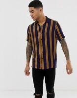 ASOS DESIGN Men's Regular Fit Stripe Shirt in Blue and Brown SIZE S