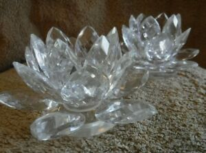 Set Of Two Crystal Taper Candle Holders Lotus Flower Design