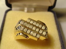 New Mens 10KT Yellow Gold Diamond Ring - 3 Channel, 20 Stones, .5ct - SZ 10