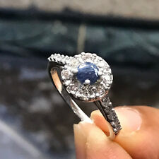 Natural Blue Sapphire, Accent Stone 925 Solid Sterling Silver Engagement Ring 6