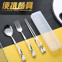 MARVEL Stainless steel cutlery 3PCS/SET Portable Student Fork Spoon Chopsticks