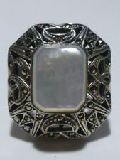30mm HUGE STERLING SILVER MODERN WOMENS MARCASITE MOTHER OF PEARL RING BAND