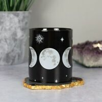 Triple Moon Black Ceramic Mug 10cm Tea Coffee Soup Cup Gothic Wiccan Gift Boxed